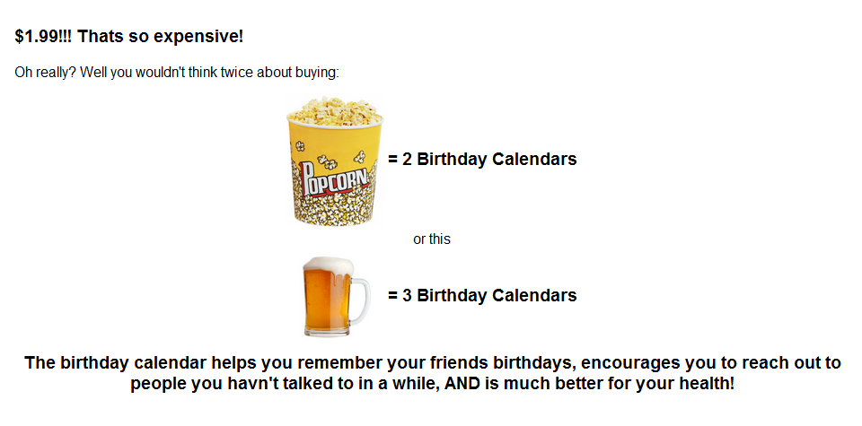 Birthday Calendar Justification