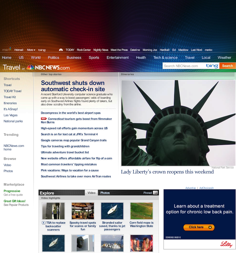 NBC Online Travel News Site