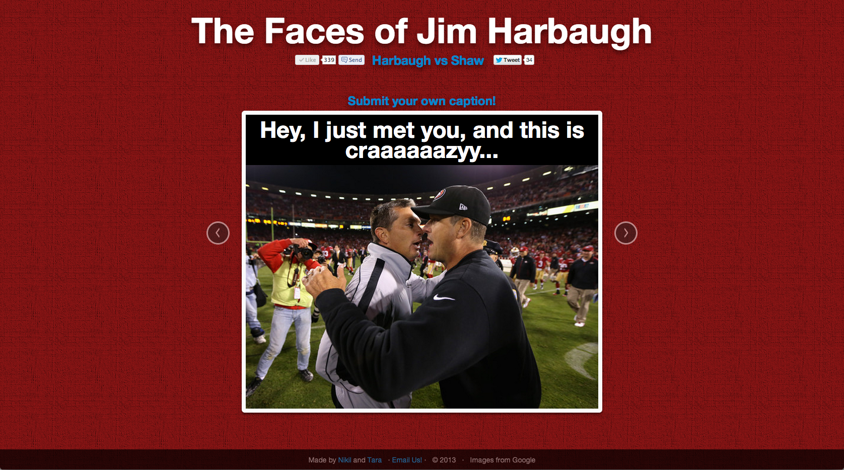 Faces of Harbaugh: Hey I just met you, and this is craaaaaazy