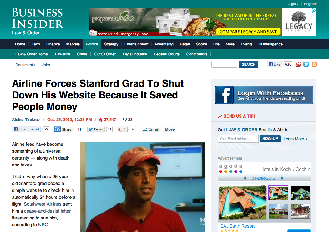 Check In To My Flight on Front Page of Business Insider