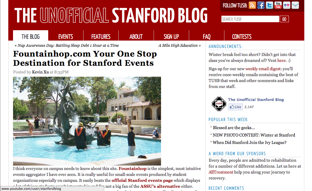 Fountainhop on The Unofficial Stanford Blog