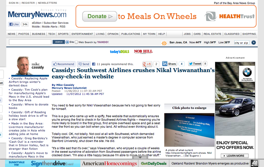 Check In To My Flight on Front Page of Mercury News Online