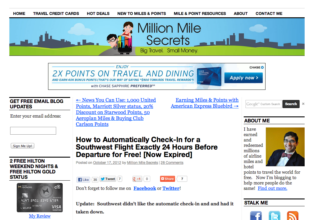 Check In To My Flight Featured on Million Mile Secrets