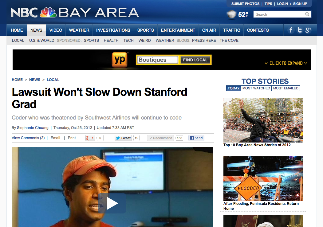 Check In To My Flight on Front Page of NBC Bay Area