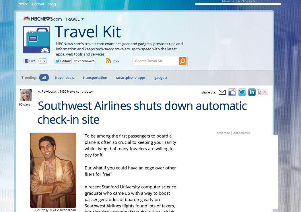 Check In To My Flight on Front Page of NBCNews.com