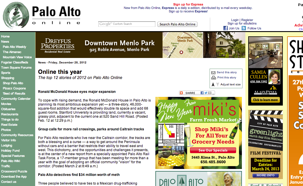 Check In To My Flight is one of the Top Stories of 2012 for Palo Alto Online!