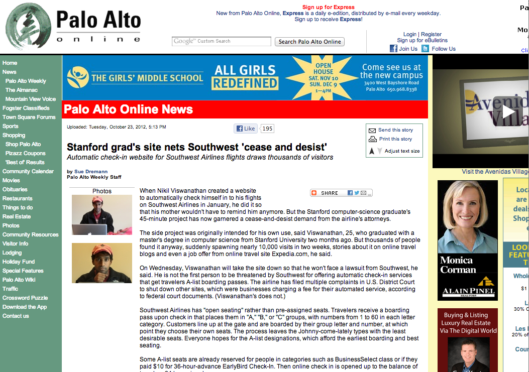 Check In To My Flight on Front Page of Palo Alto Online
